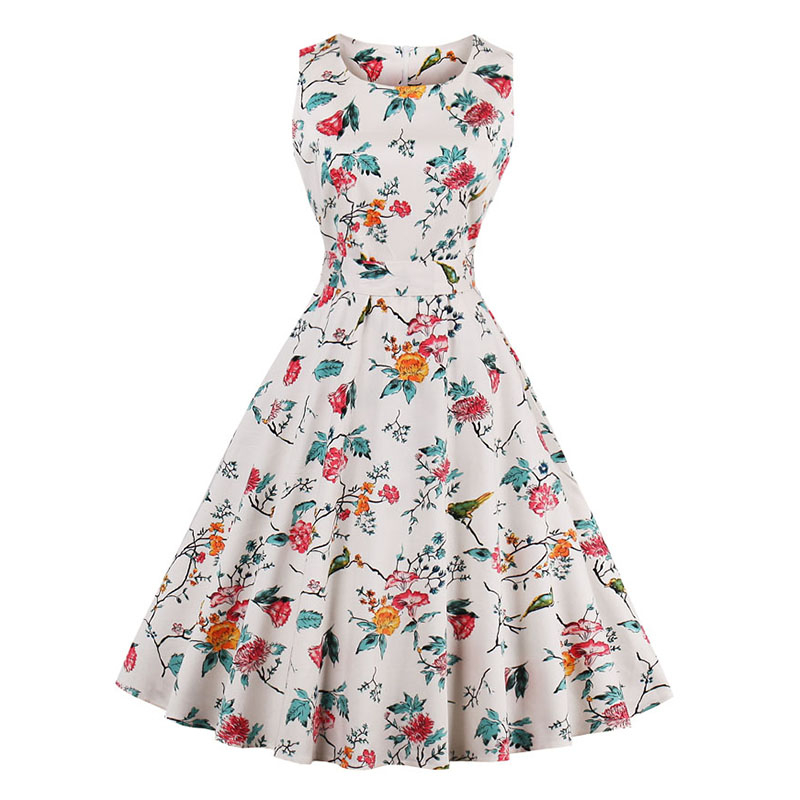 Kostlish 9 Style Print Summer Dress Women 2017 Sleeveless Swing 1950s Hepburn Vintage Tunic Dress Elegant Party Dresses Sundress (27)