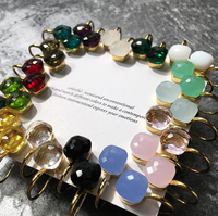 Caramelo de calidad superior pendientes de gota moda Pomell múltiples facetas cristal cuadrada Multicolor pendientes de gancho para las mujeres Pommelato joyería