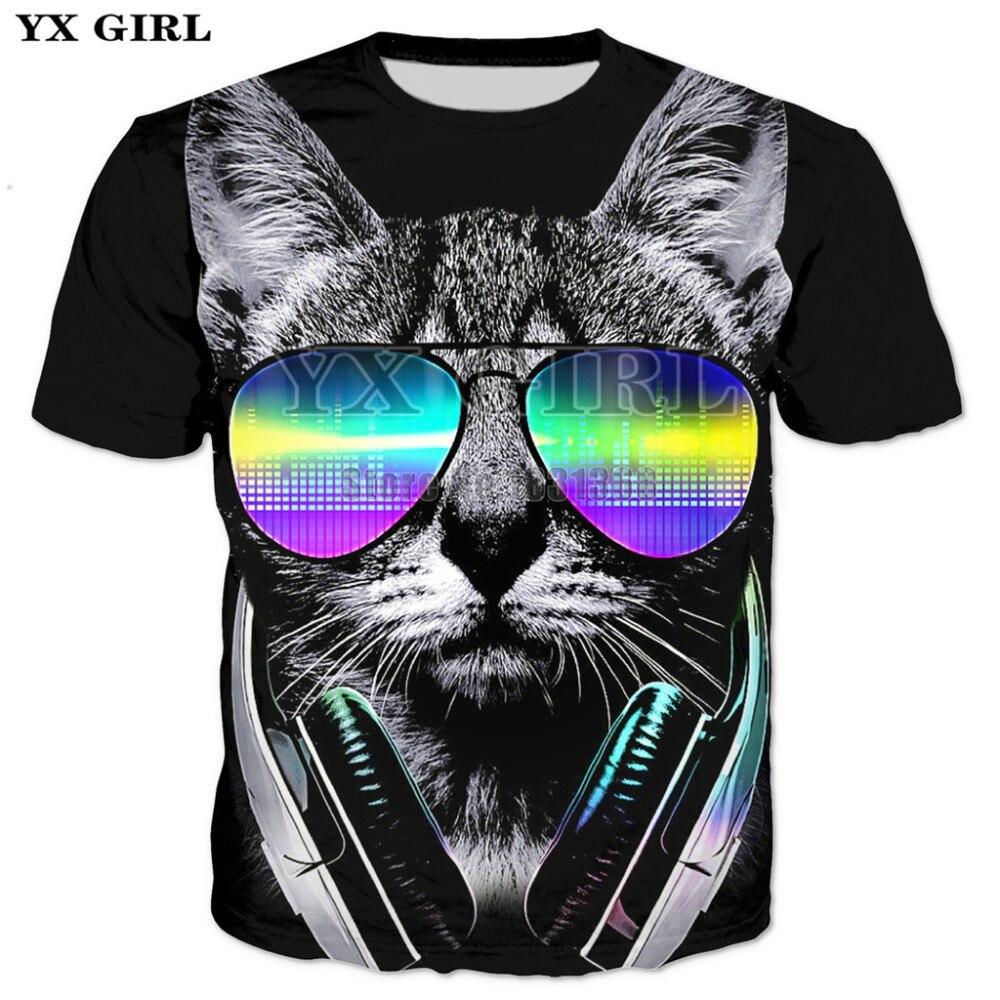 f40f4b787fee YX GIRL Flowers Prince Meow 3D Print T-shirt Men Women Short Sleeve Summer  Tops Tees T shirt animal t-shirts Drop shipping
