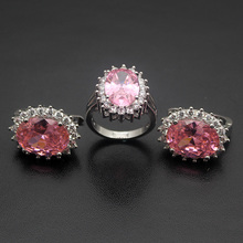 Hermosa Magic Jared Jewelry Sets Pink Kunzite , FireTopaz Silver Color Ring & Earrings Womens Jewellry Set Size 8.5# 7.5#