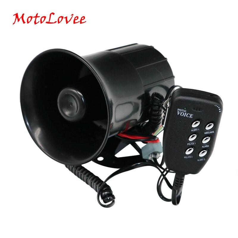 Motolovee Универсальный 12 В 20 Вт Авто Громкий Рог 105-115db сирена с 6 звук тон Мегафоны сигнализации для мотоциклов автофургон лодка