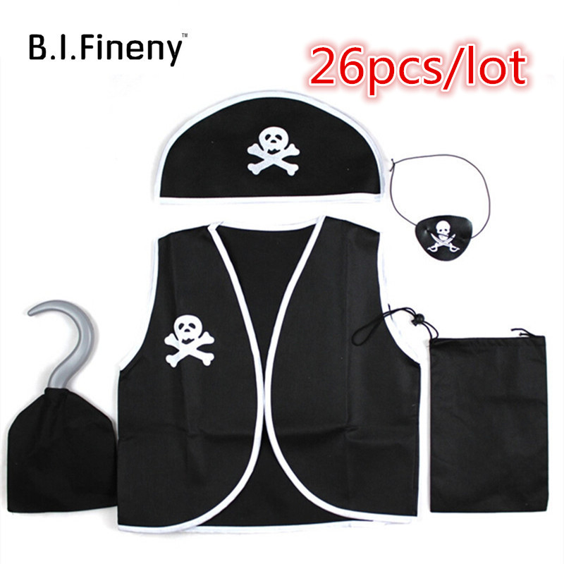 Children's Day Kid Pirate Costume Birthday Halloween cosplay skull eye vest hat  hook boys girls Children's Day costumes Sets