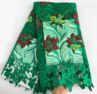 High Grade Hollandais Wax Embroidery African French Tulle Lace Fabric With Cord Lace Border Real Wax