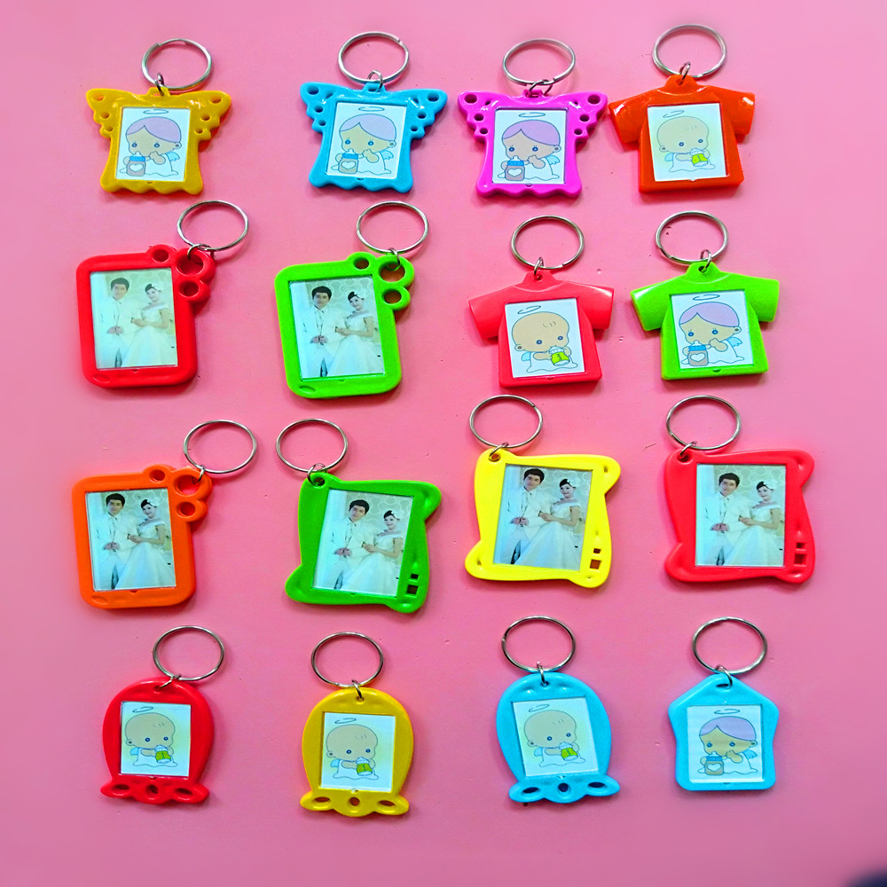 1 Pcs Blank Acrylic Keychains Angel/Butterfly/Clothes/Fish Shape Keychains Photo Plastic Keyrings Colorful Double Sid Keychain