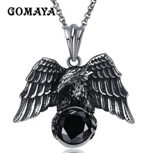 GOMAYA Silver Color Eagle with Black Zircon Pendant Necklace Mens Titanium Steel Jewelry Vintage Cool Collier thailand imports cool black star silver pendant