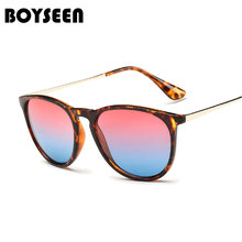 4a13cf5436b8 BOYSEEN Hot Sale Fashion Cat Eye Sunglasses Women Classic Brand Designer  Female Twin-Beams Coating Mirror Flat Panel Lens 1330