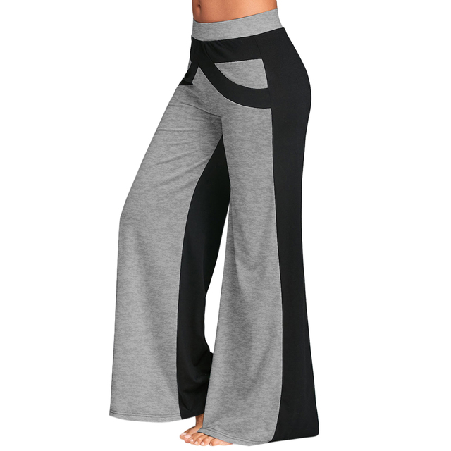 b15af3f34f4 Gamiss Wide Leg Pants With Color Block Causal Loose Straight Flat Trousers  Long Female Trousers Women Pants Wide Legged Pants