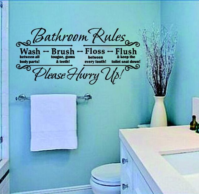 Aliexpress Com Buy New Bathroom Rules Home Decoration Quote