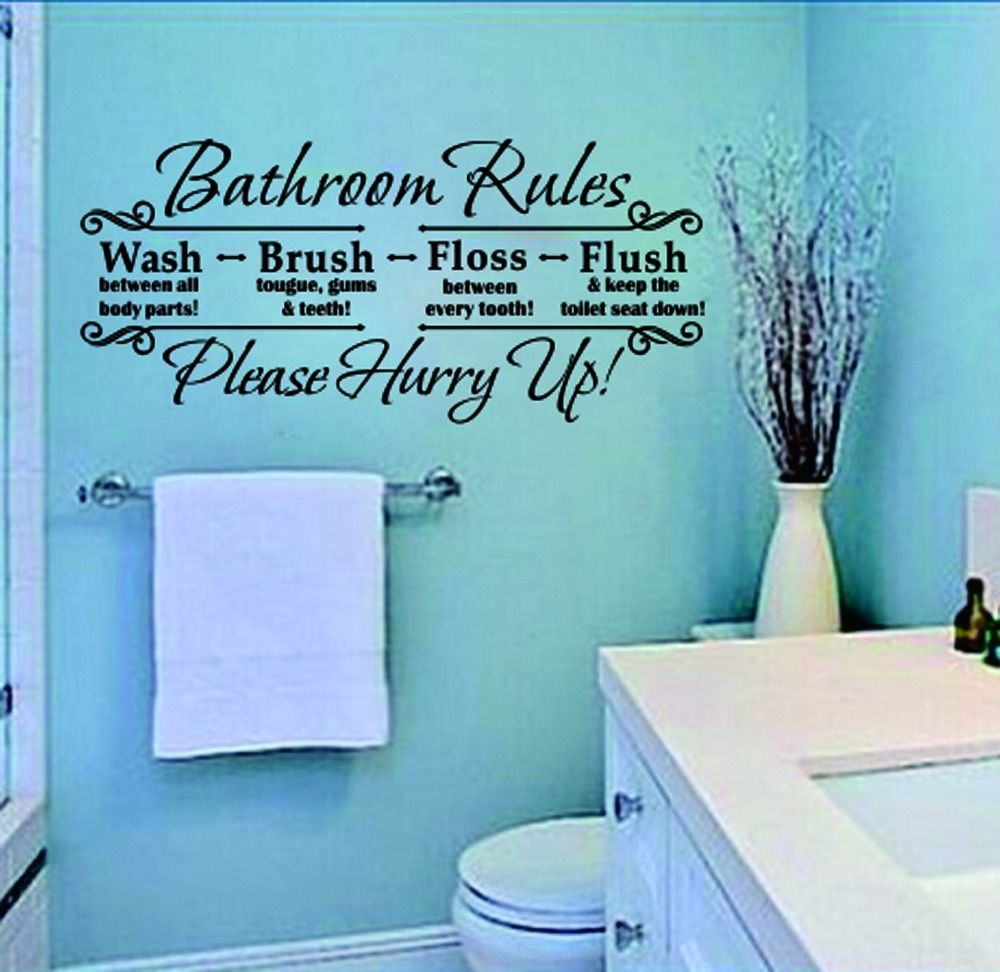 New BATHROOM RULES home decoration Quote Black Vinyl Sticker Toilet Art  Wall Decal Decor de parede removable. Toilet Rules Wall Promotion Shop for Promotional Toilet Rules Wall