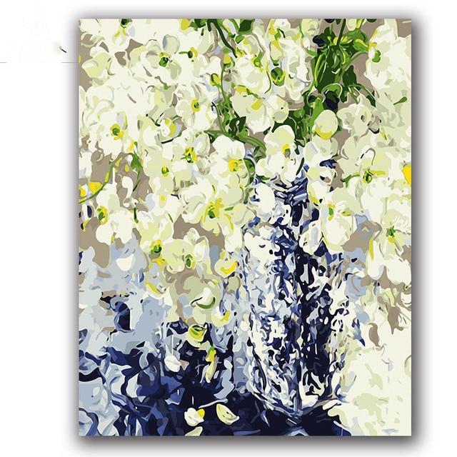 Menari Orchid Cat Dengan Numbes Bunga Abstrak Kanvas Lukisan Gambar