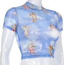 2019 Fashion Angel Printed Short Sleeve T-Shirt Half-High Collar Dew Navel Mesh T Shirt Slim Bottoming Sexy Crop Top