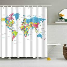 Waterproof Shower Curtain World Map Pattern Creative With Hooks Bathroom Polyester Fabric Decoration