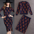 Clothing Set Two Piece Skirt and Top 2016 Fall Winter Animal Kangaroo Pattern Sweater Pullover + Pencil Skirt 2pcs Set 4068