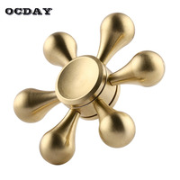 OCDAY Hand Spinner Copper Metal Fidget Spinner Six Corner Focus Anti Stress Spinning Toys Tops Gift
