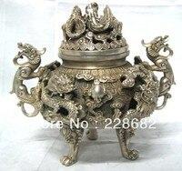 Decorazioni di natale per la casa + Asian Antiques Tibet Silver Dragon Bruciatore di Incenso Cense
