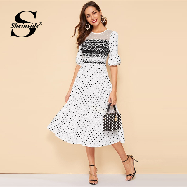 acb3fa48b6 Sheinside Vintage Polka Dot Print Puff Sleeve Dress Women 2019 Summer Half  Sleeve A Line Midi