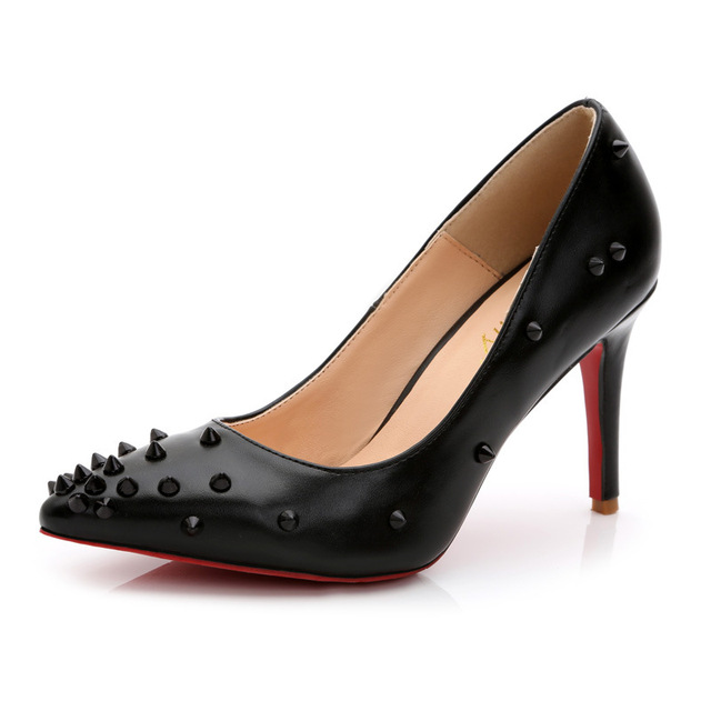 Lady's Sexy Hot Sale European and American Style Rivets Pointy Toe Red Bottoms Plus size 35-43 High heels Women Pumps Nigh Club