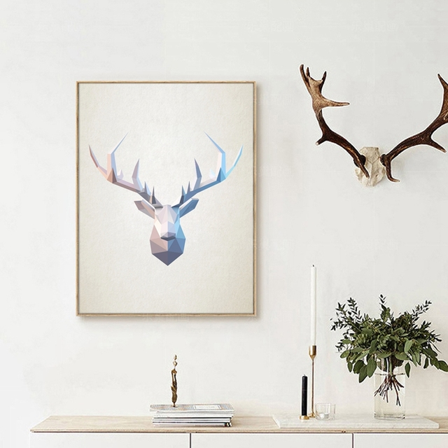Geometric Purple Deer Wall Art Print Modern Poster Buck: Abstract Deer Head Wall Art Print Pictures , Geometric