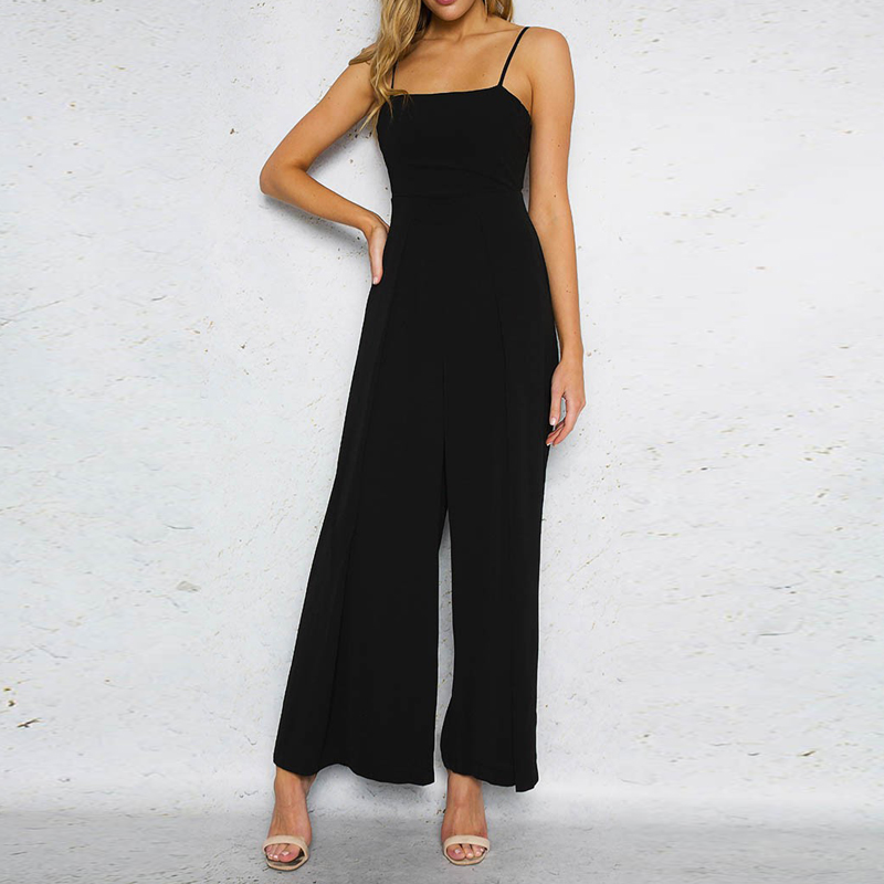 2018 summer women long jumpsuits solid black sexy strap backless bow loose female jumpsuits overalls party club rompers CJ012