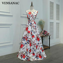 VENSANAC New A Line 2017 Draped Boat Neck Long Evening Dresses Sleeveless Elegant Lace Flowers Tank Party Prom Gowns
