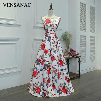 VENSANAC New A Line 2018 Draped O Neck Draped Long Evening Dresses Sleeveless Elegant Lace Flowers Tank Party Prom Gowns фото