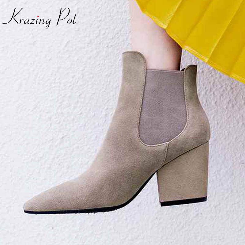 Krazing Pot genuine leather cow suede high heels solid color European pointed toe women fashion runway model Chelsea boots L03Krazing Pot genuine leather cow suede high heels solid color European pointed toe women fashion runway model Chelsea boots L03