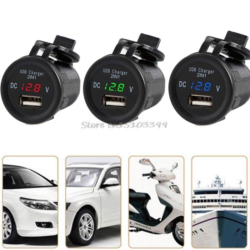 2in1 Led 2.1A USB зарядное устройство порты и разъёмы телефон вольтметр Для Автомобильный мотоциклетные водонепроницаемый