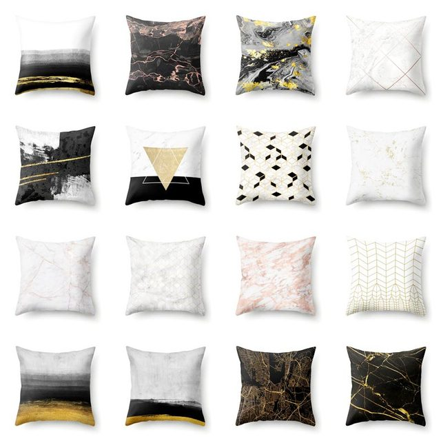 Pillow Covers For Living Room Furniture Cleveland Cotton Polyester Marble Pattern Cushion Cover Geometric Bedroom Decoration Case Cushions Cojines De Cactus