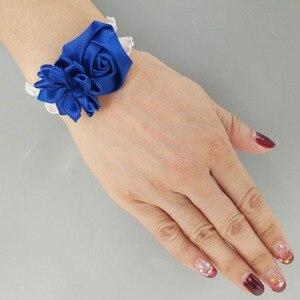 Image 3 - WifeLai A (Wrist flower and boutonniere) Holding Bouquet  Royal Blue Mixed Silver silk wrist flower Wedding Bridal Bouquet Set