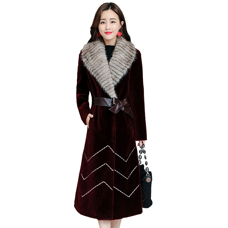 2019 New Women's Winter Leather Grass Coat Sheep Sheared Fox Fur Long Outer Slim Thick Warm Double-faced Fur Jacket