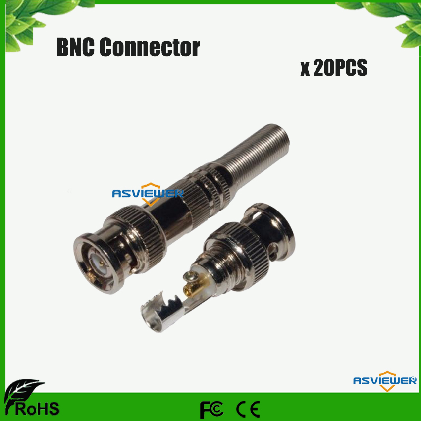 CCTV Accessory BNC Connector Male RG-59 Connector To Coaxial Cable 20pcs/lot