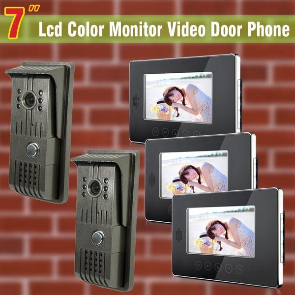 7 LCD Monitor 2 to 3 video door Phone DoorBell video intercom door camera Support Night  ...