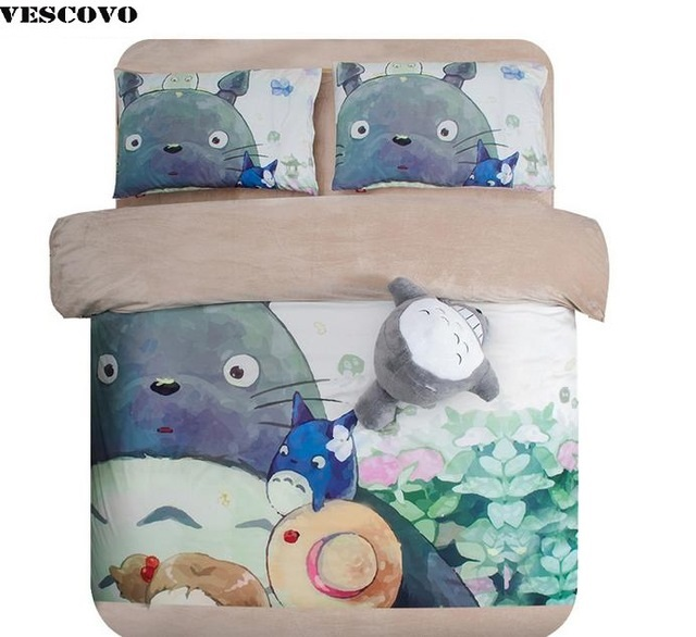 Coral fleece oil painting cartoon totoro 3 4 piece set comforter quilt pillowcase fitted bed sheet