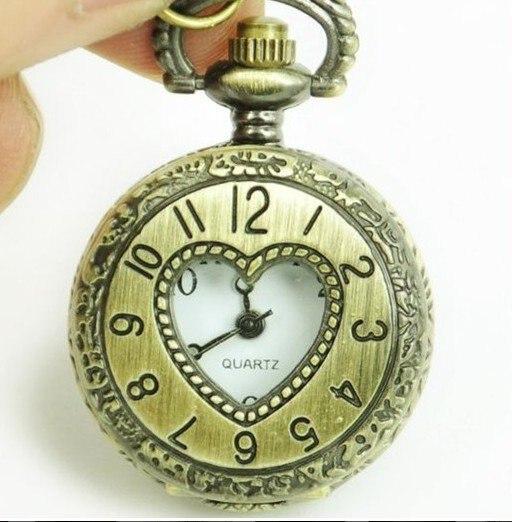 3019) 12 шт/лот сердце Винтажный стиль Леди Новое Женское Ожерелье Подвеска для часов Кварц