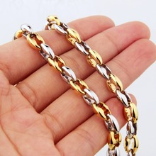 6.5mm 7-40New Arrive Stainless Steel Silver Gold Color Coffee Beans Link Chain Men's Women's Biker Necklace Or Bracelet Jewelry