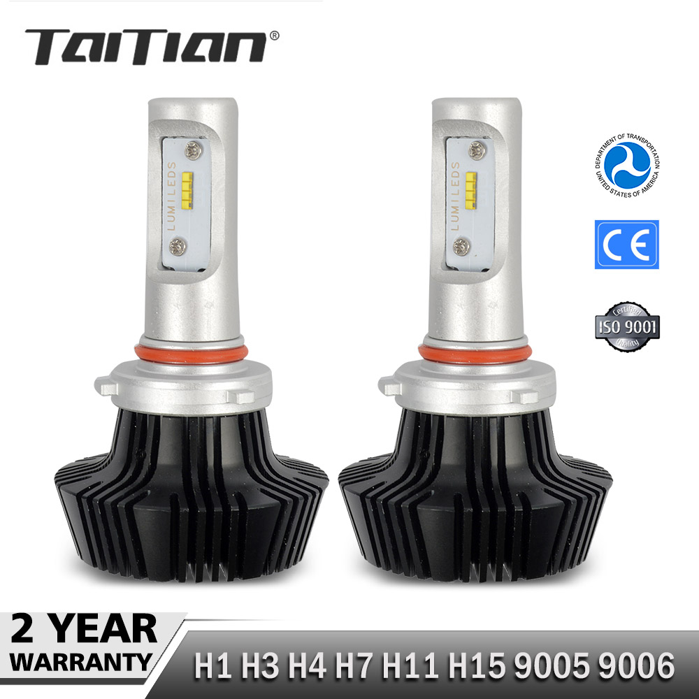 цена на Taitian 2Pcs CSP 55W 8000LM 6500K 12 Volt H1 H3 H7 ledlamp H 11 9005 hb3 LED HB4 Headlight Bulb Car Canbus Auto Fog Light Kit