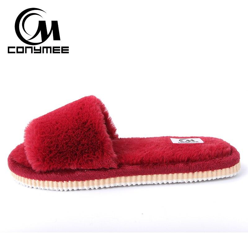 2019 Womens Fur Slippers Winter Shoes Big Size Home Slippers Plush Pantufa Women Indoor Warm Fluffy Terlik Cotton Shoes ZJ-MM 3