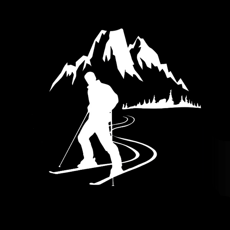 13 2CM 13 6CM Skier Sport Mountain Snow Fashion Personality Creative Car Stickers Vinyl in Car Stickers from Automobiles Motorcycles