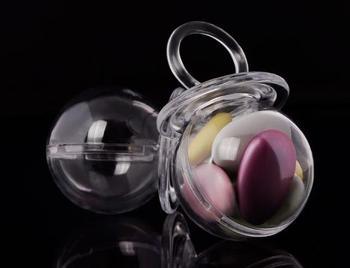 Caja de caramelos transparente en forma de pezón para baby shower, fiesta de cumpleaños, chupete transparente, soporte para dulces, suministros para eventos festivos