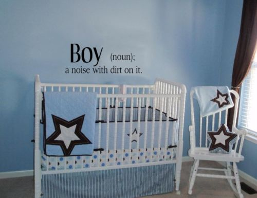 boy a noise with dirt on it wall decal quote words lettering baby