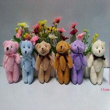 10 шт./партия, супер кавайный размер, маленький 11 см, соединительный Тед плюшевый медведь, плюшевая мягкая игрушка, сумка, подвеска на цепочке, 6 цветов на выбор