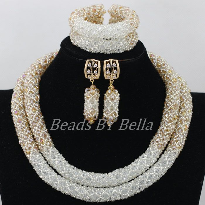 Handmade Gold White Crystal Nigerian Beads Jewellery Set Bridal Jewelry African Wedding Women Fashion Set Free Shipping ABF991Handmade Gold White Crystal Nigerian Beads Jewellery Set Bridal Jewelry African Wedding Women Fashion Set Free Shipping ABF991