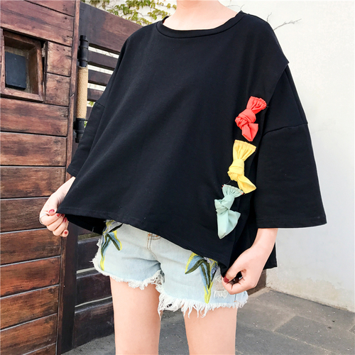 Oversize Loose Casual Special All Match Cotton Fashion 2018 New Arrival College Wind Basic Short Sleeve Female T-shirts