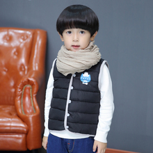 Kids waistcoats heat Children's down vest for ladies boys in winter autumn spring light-weight letter2017new fashion and low cost black