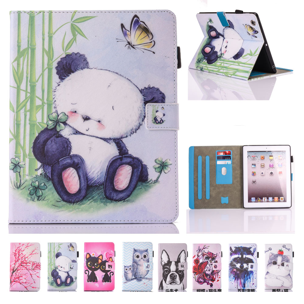 For Coque iPad 2 Case iPad 3 Case iPad 4 Case Cute Panda PU Leather Folio Flip Stand Case Cover for iPad 2 3 4 with Card Slot ikki patterned flip open pu case w holder card slot for iphone 4s 4 purple white