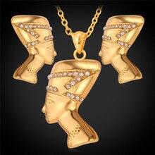 U7 Египет Королева Ожерелье Серьги Комплекты Оптовая Желтое Золото/Платина Покрыли Горный Хрусталь Африканских Ювелирные Наборы Для Женщин S604