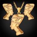 U7 egito rainha colar brincos conjuntos atacado amarelo banhado a ouro de strass conjuntos de jóias africano para as mulheres s604