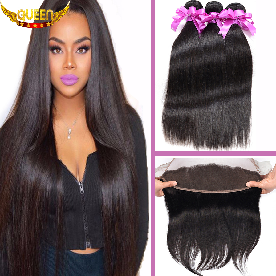 Peruvian Virgin Hair Straight 3Bundles With Ear to Ear Lace Frontal Closure, 7A Peruvian Virgin Hair 13X4 Part Baby Hair Frontal