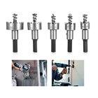 5 Pcs Carbide Tip HSS Drill Bit Saw Set Metal Wood Drilling Hole Cut Tool For Installing Locks Woodworking Tools Box Set