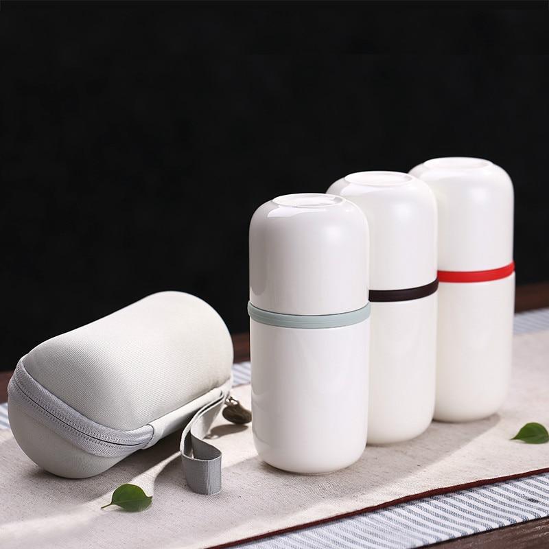 Hoge kwaliteit Chinees porseleinen theeservies Draagbare keramische theefles met draagbaar zakgoed Reisset Keramische beker